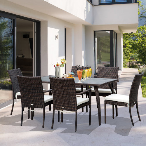Outsunny 7 PC  Rattan Dining Set-Brown/Cream White