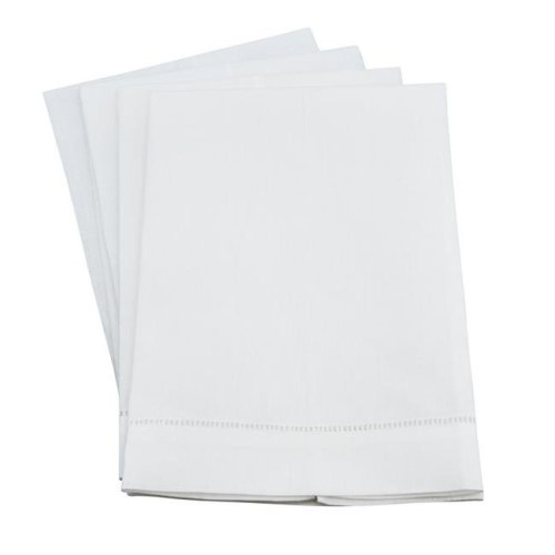 Saro Lifestyle 6100.W1422 14 x 22 in. Classic Hemstitched Linen Blend Guest Towel - White, Set of 12