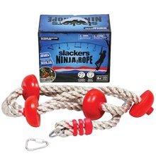 b4Adventure NinjaLine Ninja Climbing Rope with Foot Holds, Red/Brown, 8'