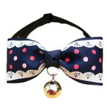 England Style Pet Collar Tie Adjustable Bowknot Cat Dog Collars with Bell-A15