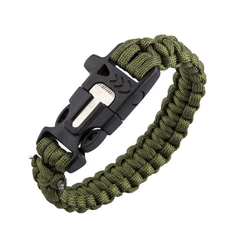 TRIXES Paracord Survival Bracelet with Built in Fire Starter and Whistle Band Green for Hiking Camping Adventuring