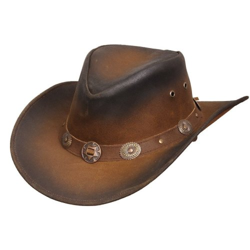 Leather Tan Cowboy Aussie Style Hat Concho