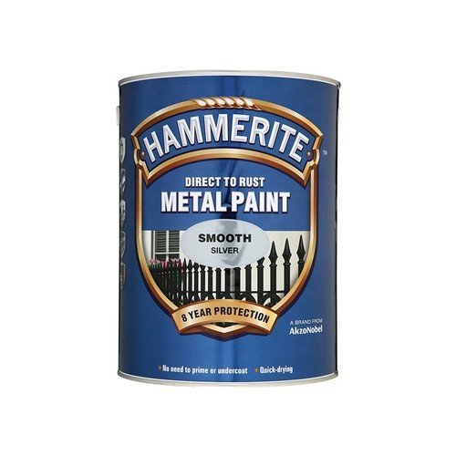 Hammerite SFS5L Direct to Rust Smooth Finish Metal Paint Silver 5 Litre