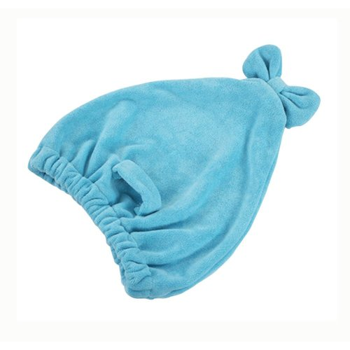 Set Of 2 High Absorption Hair Drying Towels/Shower Caps(Acid Blue)