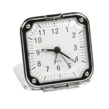 Widdop Chrome Alarm Clock - Square Fold Up Travel Alarm Clock - 7cm - 9588 - New