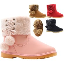 GIRLS TOP FAUX FUR LINED FLAT WARM ANKLE TRAINER