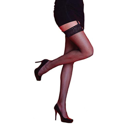 WOMENS SCARLET FISH NET LACE TOP STOCKINGS BLACK ONE SIZE