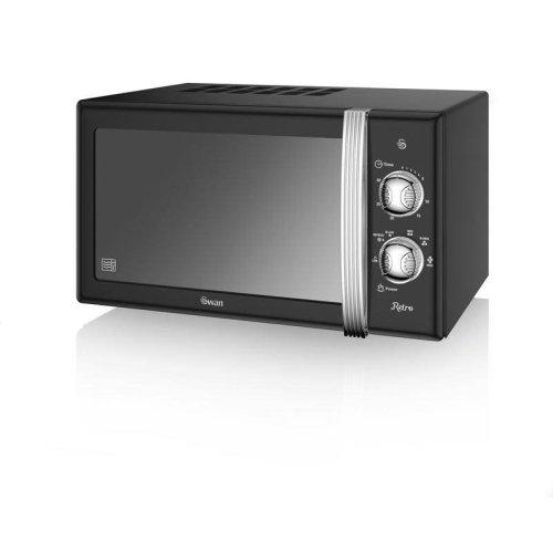 Swan 20 Litre Retro Manual Microwave 800W - Black (Model No. SM22130BN)