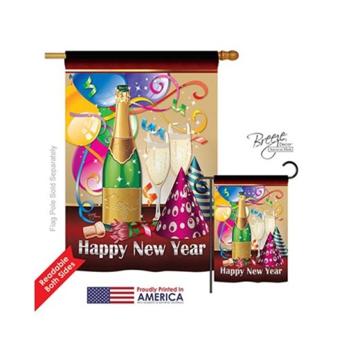 New Year Happy New Year 2-Sided Vertical Impression House Flag - 28 x 40 in.