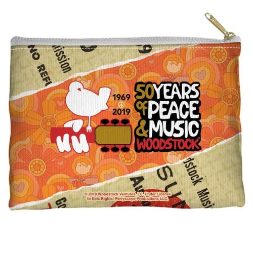 Trevco Sportswear WOOD152-PCH1-12.5x8.5 Woodstock & 50 Year Ticket Accessory Pouch, White - 12.5 x 8.5 in.