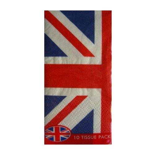 10 Union Jack Flag Paper Tissues Pocket United Kingdom GB Handkerchiefs Hankies