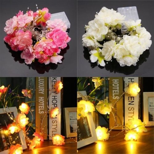 Battery Powered 20LEDs Warm White Rose Flower Fairy String Light for Christmas DC4.5V