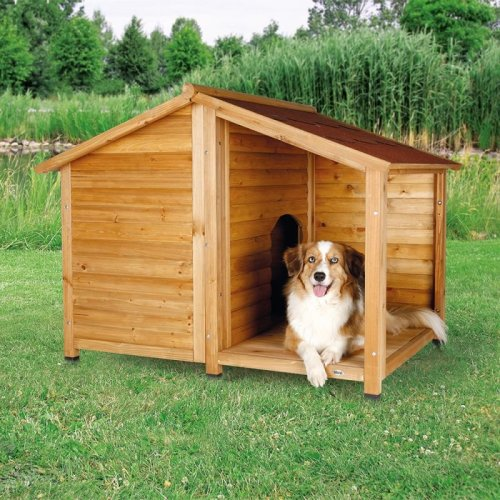 Wooden Dog Kennel Log Cabin Style Porch Patio