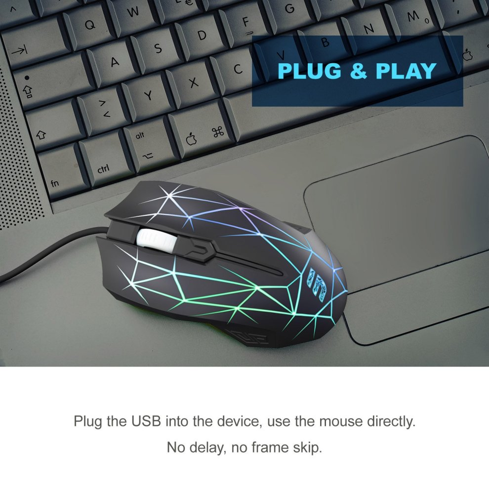 7a1a38f78d2 ... LINGYI Mouse, Optical Wired Mouse with Colorful Backlit Change  Automatically, Durable and Ergonomic Design ...