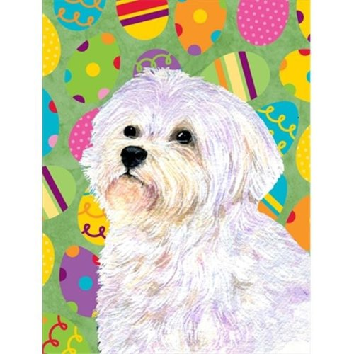 Carolines Treasures SS4826CHF 28 x 40 in. Maltese Easter Eggtravaganza House Size Canvas Flag
