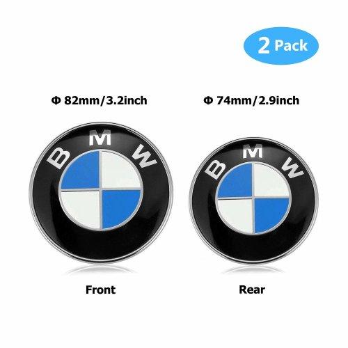 BMW Emblem Replacement Hood and Trunk Emblem Logo Front 82mm Rear 74mm Fit for E30 E36 E34 E60 E65 E38 X3 X5 X6 3-Series 5-Series 6-Series 7-Series