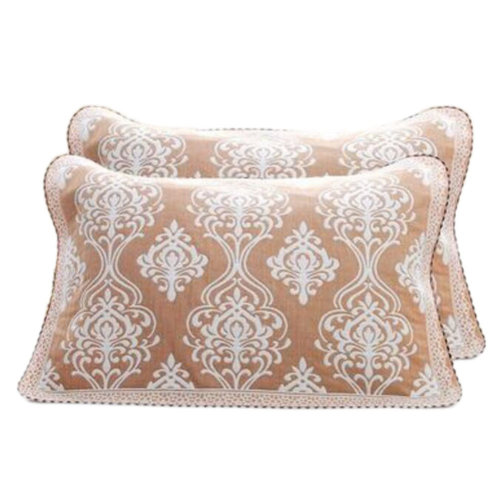 2 PCS Cotton Four Layer Pillow Towel Soft Pillow Blanket Elegant Protector Best Skin Care, Coffee