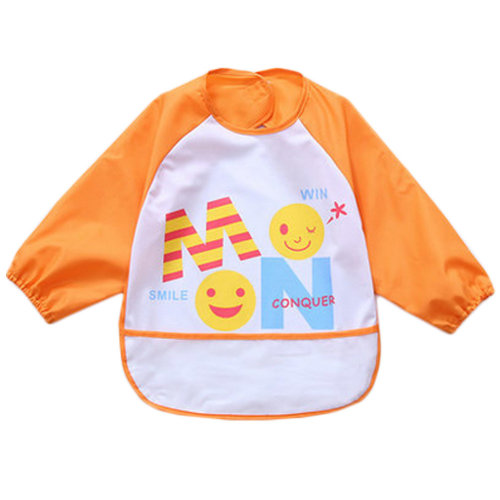 91d633b03069c Lovely Waterproof Baby Feeding Clothes Long-sleeved Baby Bibs Orange on  OnBuy