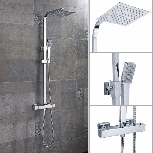 "Bathroom Shower Mixer Set 8"" Twin Square Head Thermostatic Bar Shower"
