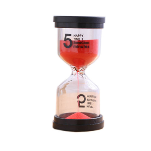 Colorful Sand Timer Hourglass Sandglass Small Ornaments Dropping Ueasily, 5 minutes + Red