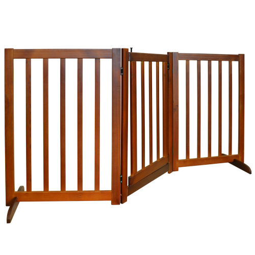 CANIS - 3 Section Solid Wood Folding Pet Gate with Door - Brown