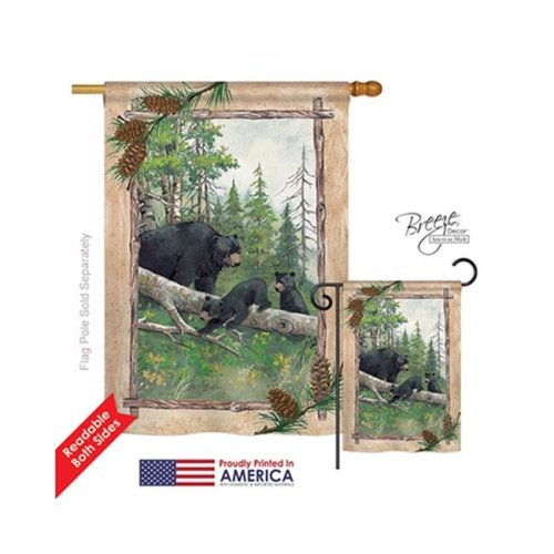 Breeze Decor 10043 Wildlife & Lodge Black Bear & Cubs 2-Sided Vertical Impression House Flag - 28 x 40 in.