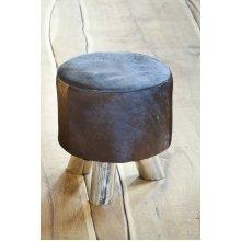 Cowhide Footstool with Metal legs