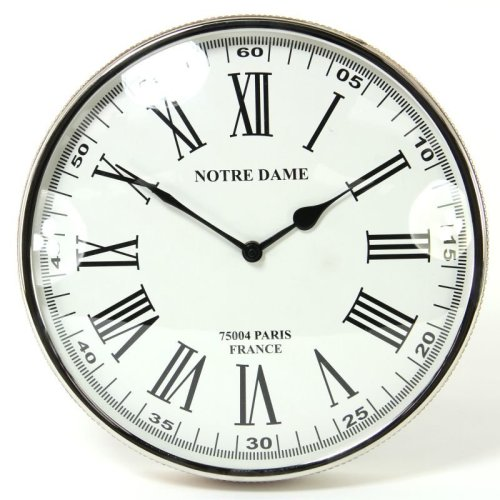 Round Wall Clock with Faux Leather Trim