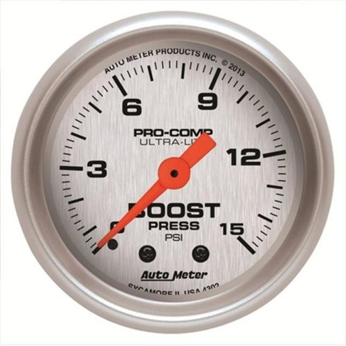 AUTO METER 4302 Boost 0-15 Psi Fsm Ultra-Lite
