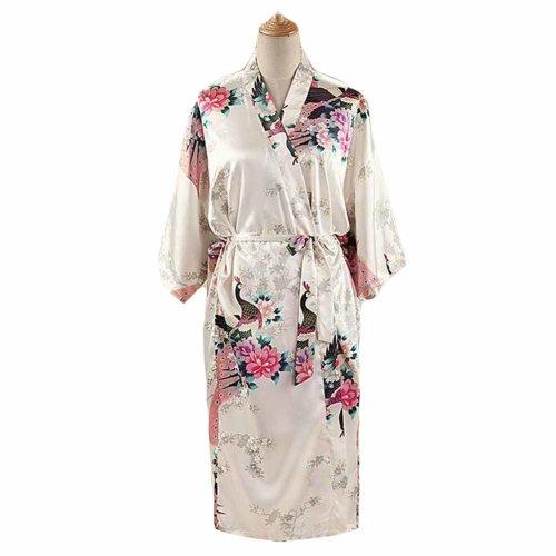 White - Peacock Blossoms Women s Long Bathrobe Kimono Robe Silk-like Pajamas  on OnBuy cb0be96a4