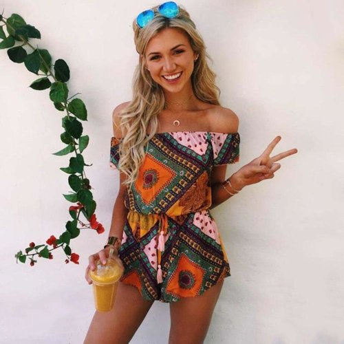 Summer Women Sexy Bodysuits National Style Casual Off Shoulder Romper with Special Print Pattern 2017 Ladies Strapless Jumpsuits