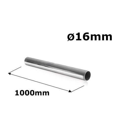 WARDROBE ROUND RAIL POLE TUBE CHROME HANGING RAIL 16MM x 1000MM