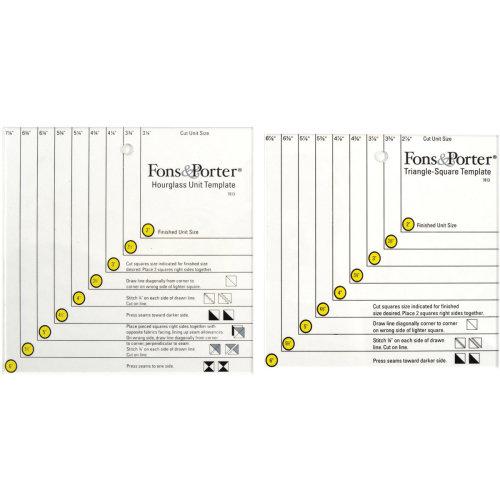 Fons & Porter Triangle Square & Hourglass Unit Templates-