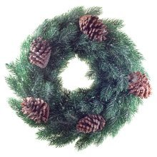 45cm Pine Cone & Realistic Artificial Green Fir Christmas Wreath Decoration