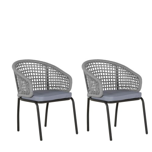 Set of 2 Garden Chairs Grey PALMI