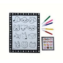 DIY Kids Painting Coloring Palette Concavo-convex Drawing Pad with Pens [Faces]