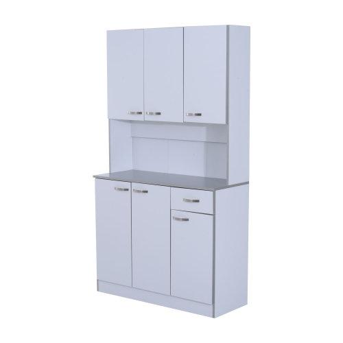 HOMCOM Wooden Kitchen Multi Storage Cabinet Display Cupboard Shelf Organizer Unit Microwave Cart Dining Room White w/Doors & Drawers