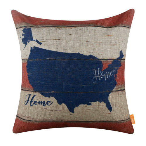 """18""""x18"""" Independence Day USA Map America Holiday Burlap Pillow Cover Cushion Cover"""