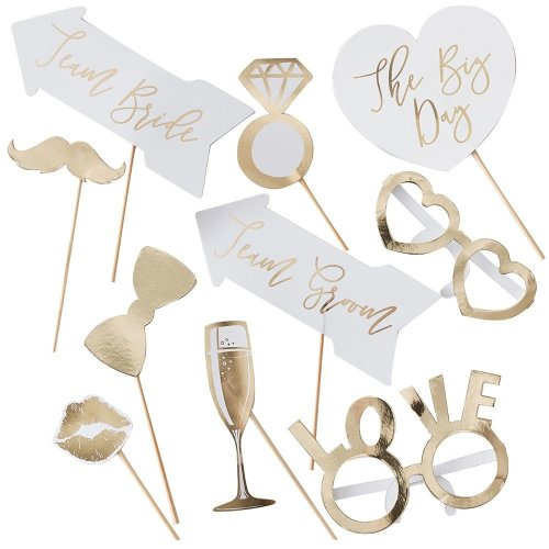 Photo Booth Props - Gold wedding