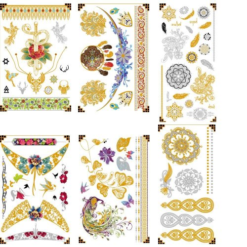 Atia Premium Metallic Tattoos - 75+ Designs in Gold and Silver - Temporary Fake Shimmer Jewelry Tattoo - Flowers, Feathers, Peacocks, Bracelets,...