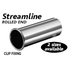 Large Silver Stainless Steel Streamline Rolled End Exhaust Tip - Outward - Silver Stainless Steel Large Streamline Outward Rolled End Exhaust Tip