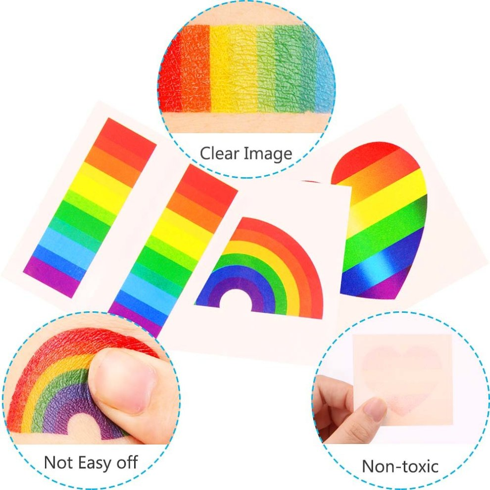 7d05a738672d7 ... Vamei 24pcs Gay Pride Rainbow Stickers Temporary Tattoo Body Paint 3  Shapes Tattoo Set for Gay ...