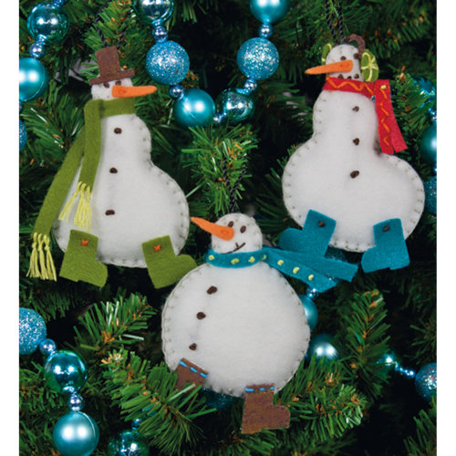 "Dimensions Felt Ornaments Applique Kit 3""X4"" Set of 3-Simple Snowmen"