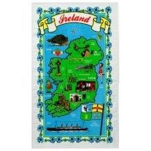 Ireland Map Tea Towel Irish Eire Souvenir Gift Iconic Shamrock Castle Titanic