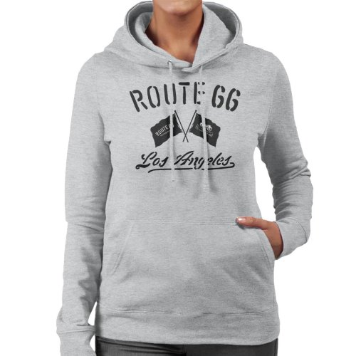 Route 66 Motorcycle Flags Los Angeles Women's Hooded Sweatshirt