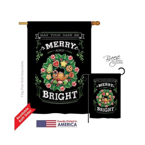 Breeze Decor 14115 Christmas Merry & Bright 2-Sided Vertical Impression House Flag - 28 x 40 in.