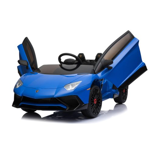 Licensed Lamborghini Aventador SV 12V 7A Electric Ride On Car MP3 Player Two Speed Function Safety Seat Belt Blue Ages 3 Years+