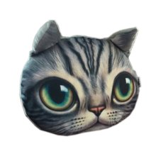 3D Cute Pet Dogs and Cats Face Head Pillow, Poor Cat