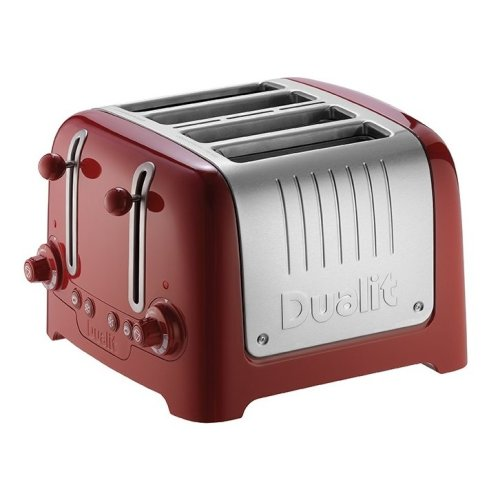 Dualit 46218 DPP4 Toaster 4 Slice Variable Browning Brushed Steel Dark Red