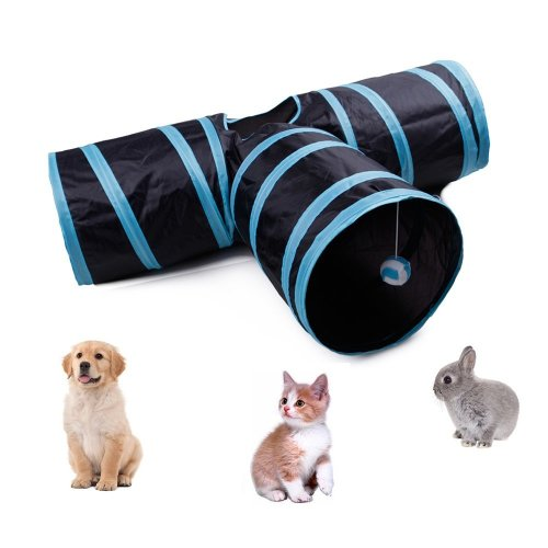 CooleedTEK Cat Tunnel Toy, Collapsible 3 Way Tunnel Interactive Toy with Ringing Ball, Spacious Tube Fun for Cats Rabbits Kittens – Length 80CM